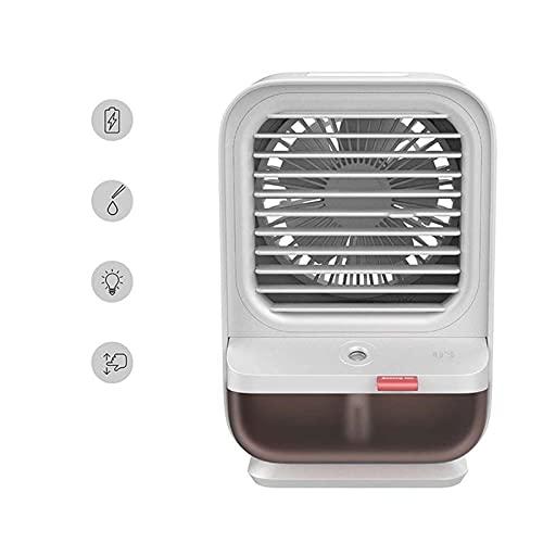 Woyada Ventilatore portatile per condizionatore d'aria, mini ventilatore evaporativo USB, ventilatore da tavolo personale, 90 gradi, luce notturna inclusa