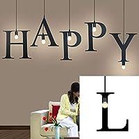 英語アルファベットペンダントライトLEDキッチンライトベッドサイドハンギングランプ天井ランプ、暖かい白色電球付き