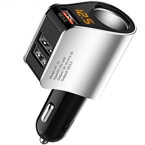 Avis - Encendedor de cigarrillos QC 3.0 USB para coche, 12 V/24 V 36 W, con interruptor táctil, dos puertos de carga rápida 3.0, carga rápida compatible con iPhone 12/11/XS, Samsung Huawei y más