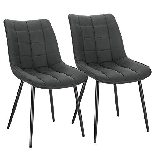 WOLTU Pack de 2 Sillas de Comedor Asiento de Tela Dining Chairs Silla Diseño Silla Tapizada Estructura Metálica Sillón con Respaldo Sillas de Cocina Antracita BH247an-2