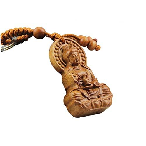1pc Madera Tallado Budismo Chino Guan Kwan Yin Estatua De Buda Llavero Regalos Colgante De Buda Bendición Feng Shui
