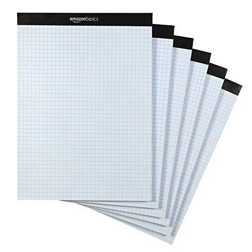 AmazonBasics Quad Ruled Graph Paper Pad, Letter Size 8.5' x 11', 6-Pack