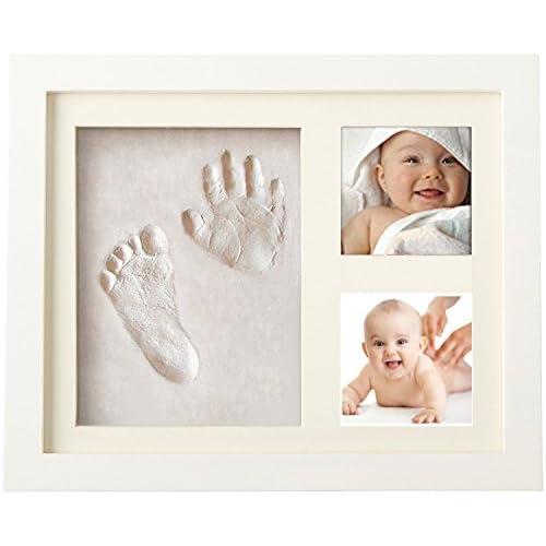 Cornice per impronte di mano e piede di bebè, con 2foto Cornice di legno di colore bianco e vetro di sicurezza.