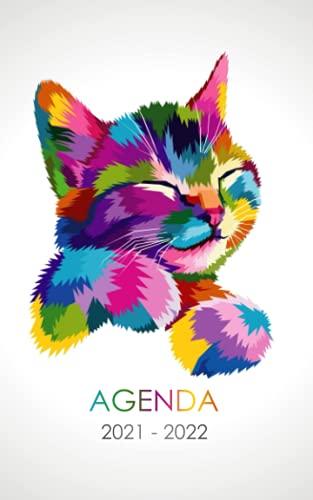 Agenda 2021 - 2022: Agenda Escolar dia por pagina Gato Gata Para estudiantes Primaria Colegio Secundaria | Diaria y semanalmente Septiembre de 2021 a ... para alumno estudiante niñas niños