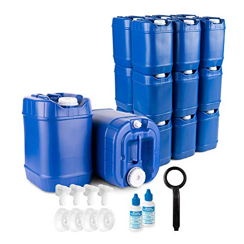 5-Gallon Stackable Water Container kit (60 Total Gallons), 12 Pack, Blue, BPA Free, High Density...