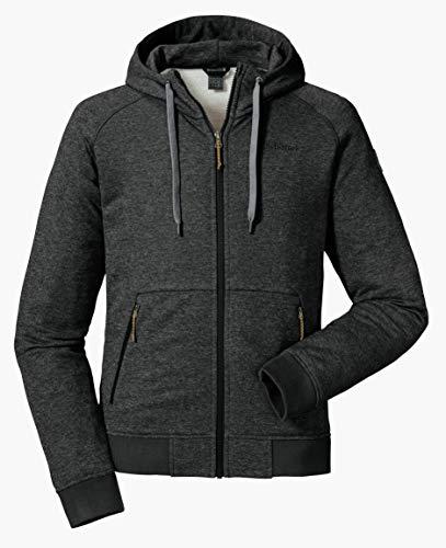 Schöffel Herren Hoody Akureyri M warme und komfortable Fleece Kapuzenjacke, atmungsaktive Sweatjacke für Männer mit praktischen Taschen, Grau (Grau), 50