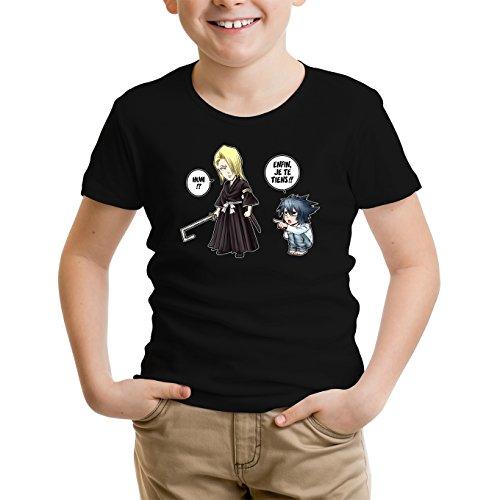 Okiwoki T-Shirt Enfant Noir Bleach - Death Note parodique Kira, L et Light Yagami : Erreur sur la Personne. (Parodie Bleach - Death Note)