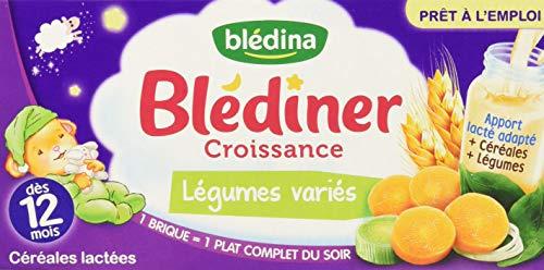 Blédina Blédîner 12 briques Croissance Céréales Légumes Variés dès 12 mois (Pack de 6x2)