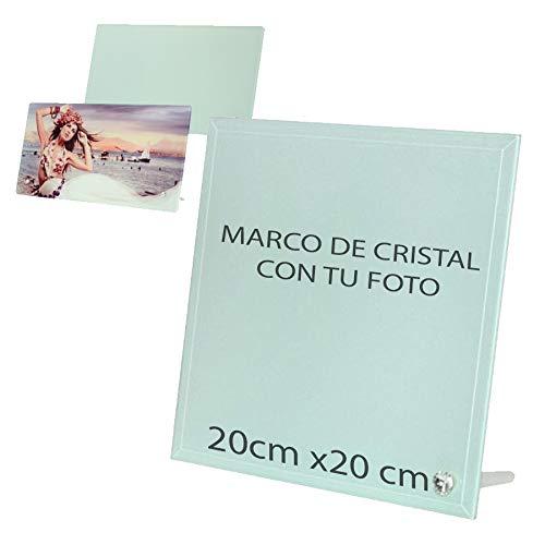 Je foto in volle kleur gedrukt op glas – minimalistisch design zonder randen, incl. standaard. Fotolijst met gepersonaliseerde foto. 20 cm x 20 cm