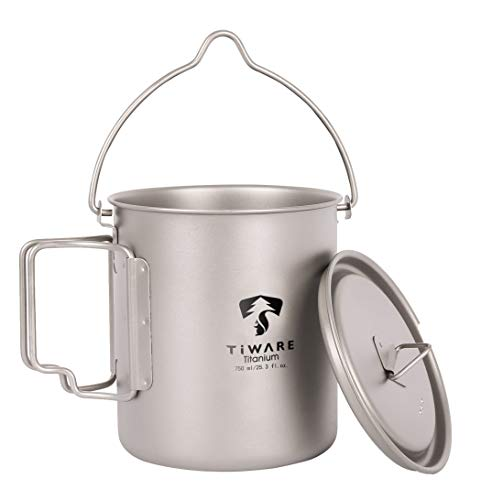 Titanium 750ml Multi Function Cup Pot Cookware Compact Cooking Set w. Folding Handles Ultra-Light Weight Durable w. Carrying Bag Reusable Eco-Friendly for Hiking Camping Picnic Outdoor