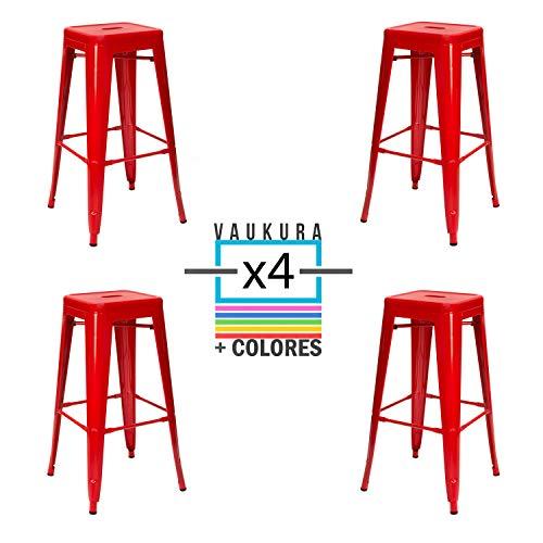 Vaukura Taburete Alto Tolix Pack 4 - Taburete Industrial Metálico Brillo (Rojo)