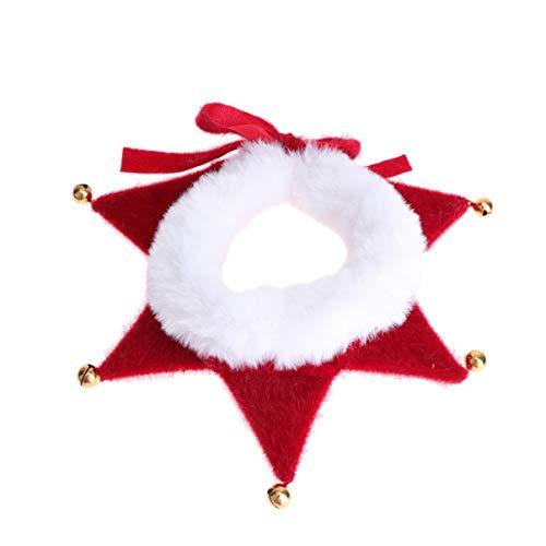 Amosfun - Collare per cani regolabile con campanellino Jingle, accessorio per costume da elfo di Natale, per cani di piccola taglia, gatto, cucciolo, gattino, taglia M (colore puro)