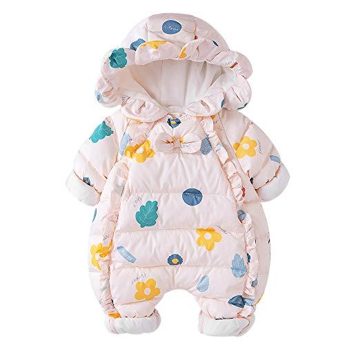 Babynestベビー服ジャンプスーツカバーオール長袖ロンパースダウンコートフード付き防寒秋冬用女の子66cm3-6ヶ月