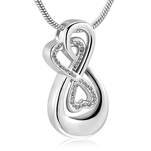DAQ Collar para Cenizas Joyería Conmemorativa Forma Infinita Cristal Piedra Urna Colgante Collar de Recuerdo Joyas para Cenizas Titular 1Pcs Plata, Monumentos