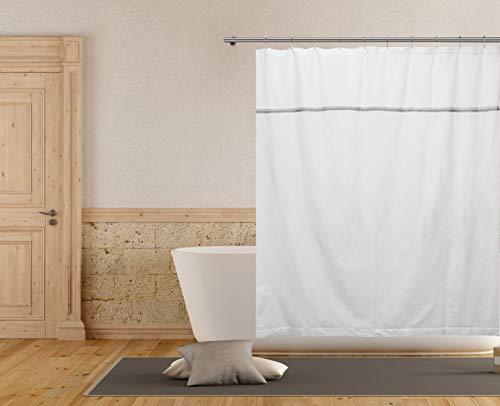 Homemaison Duschvorhang, Weiß/Silber, 70x72