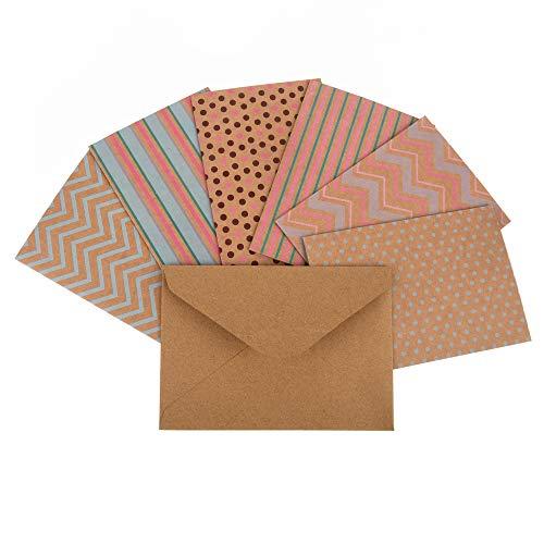 ewtshop® Karten-Set mit 36 Kraftpapierkarten in 6 verschiedenen Designs + 36 Umschläge, DIN A6, 14,8 x 10,5 cm