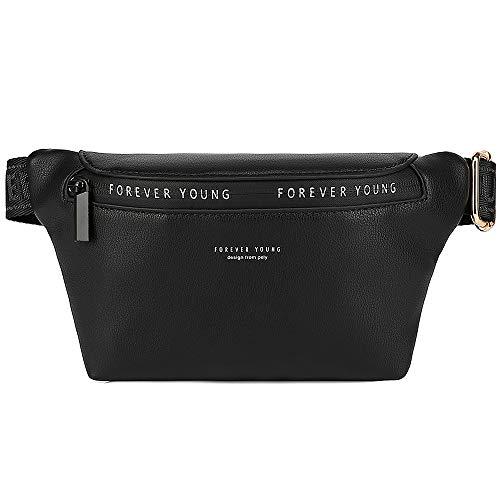 WANYIG Umhängetasche Bauchtasche Damen Herren PU-Leder Gürteltasche Nachhaltig Hüfttasche Stylische Hip Bag Brusttasche mit Reißverschluss Verstellbarer Gurt für den Alltag(Schwarz)