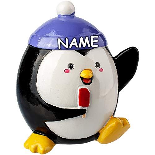 alles-meine.de GmbH große Spardose - Motivwahl - Pinguin - inkl. Name - mit Verschluß - aus Kunstharz - 12 cm - stabile Sparbüchse - Sparschwein - für Kinder & Erwachsene / lusti..