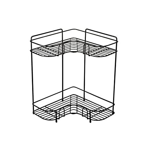Estante de Almacenamiento de Esquina de Hierro Estante de Cocina Tarro de Especias Cesta de Almacenamiento de cosméticos Soporte de Estante de Escritorio de baño Accesorios-Negro