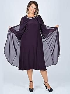 Nidya Moda Kadın Yaka Aksesuarlı Şifonlu Sandy Abiye Elbise