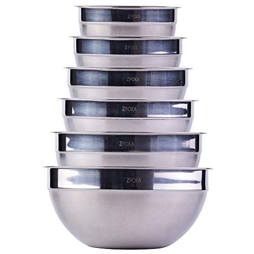 Cuencos mezcladores apilables de acero inoxidable (acabado mate y brillante) (set de 6)