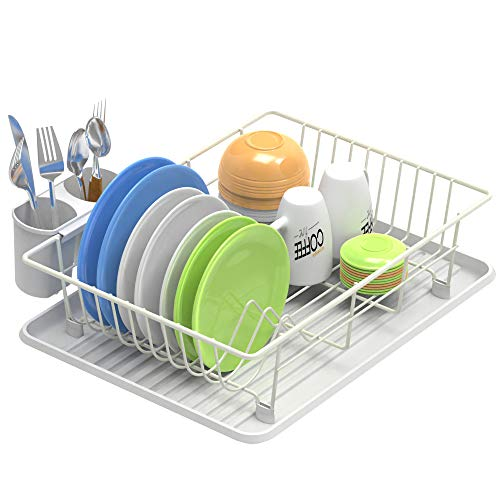 Dish Drying Rack, Veckle Sink Side Dish Rack with Drainboard Cutlery Utensil Holder Dish Drainer Wire Rack for Kitchen Countertop, White