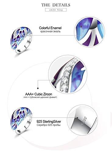 SHIJING handgemaakte email zilveren ringen voor vrouwen 925 kleurrijke witte CZ plant bloem unieke ring vrouw-feest-geschenk sieraden 9