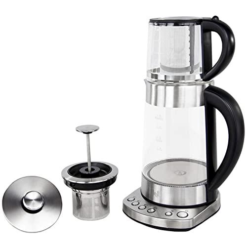 """Impolio PREMIUM LED Glas Wasserkocher mit Temperatureinstellung und Warmhaltefunktion , Edelstahl Teesieb und Aufsatz für Teekocher \""""Kand\"""" geprüft von TÜV Süd"""