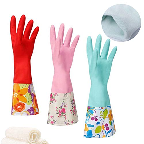 Product Image 1: Household Rubber Cleaning Dishwashing Latex Gloves Cotton Lining Warm Non-slip Kitchen Gloves (3-Pairs),Free get Cleaning Cloth (1-Pack) 3 P Lined