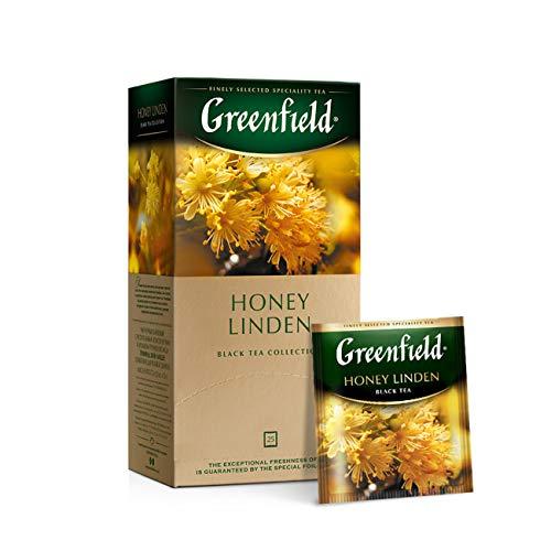 GREENFIELD HONEY LINDEN Schwarztee   Aromatisierter Tee   Schwarzer Tee mit Honiggeschmack mit Linde und Apfel   Brew Hot oder Iced   Teebeutel   25 beutel