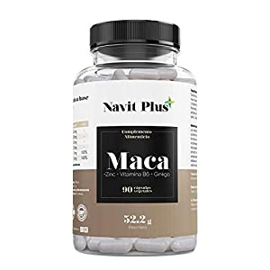 Maca andina capsulas 5000 mg con Zinc, Ginkgo y Vitamina B6 | Código Nacional Farmacia 193338.6 | Cápsulas vegetales | Aumenta nivel de energía y rendimiento | Tratamiento hasta 3 meses | NAVIT PLUS.