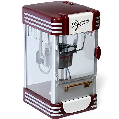 Jago Macchina per Popcorn - Stile Retro, 60L/h, 200g/10min, con Pentola in Acciaio Inossidabile - Pop corn Maker Professionale, Popcorn Machine, Popper