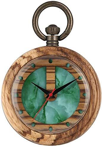 Encantador Reloj De Bolsillo De Madera De Cuarzo para Mujer, Bonitos Relojes De Bolsillo con Esfera De Marmoleado Verde para Hombres, Reloj Colgante De Caja De Madera Marrón Claro para Mujer