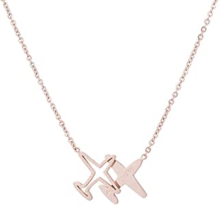 Winssi Stainless Steel 18K Rose Gold Roman Numeral Necklace Tiny Plane Necklace Mermaid Necklace