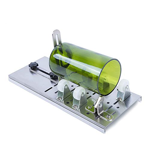 Glass Bottle Cutter Kit : Adjustable Track System, DIY Project Crafts, Cutting Wine, Beer, Mason Jars, Whiskey, Round, Square and Oval, Bottle Cutter & Glass Cutter Bundle
