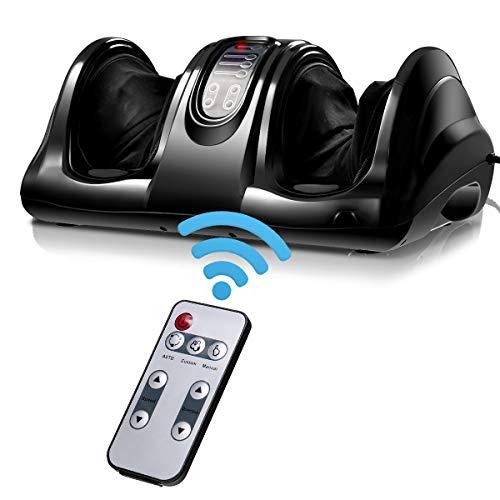 Giantex Shiatsu Foot Massager Machine Massage for Feet, Nerve Pain Therapy Spa Gift Deep Kneading Rolling Massage for Leg Calf Ankle, Electric Shiatsu Foot Massager w/Remote, Black