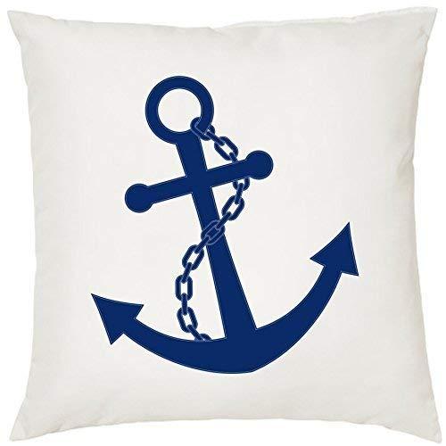 Kissen Zierkissen mit Füllung Kuschelkissen Geschenk Maritim Nautical 40cm x 40cm 40cm x 40cm Anker navy