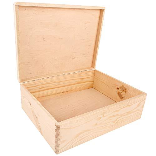 Creative Deco XL Grande Caja Madera para Decorar con Tapa | 40 x 30 x 14 cm (+/-1cm) | Cofre Decoración Decoupage | para Almacenaje de Documentos, Objetos, Juguetes, Herramientas | EN Bruto SIN LIJAR