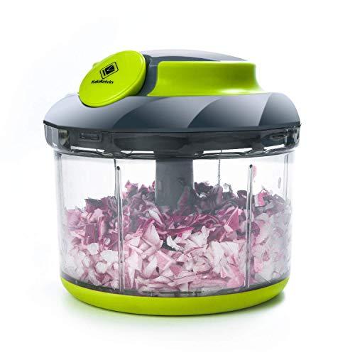 Kalokelvin - Picadora manual de 4 tazas para frutos secos, hierbas, cebollas, frutas, verduras, ensalada, pesto, ensalada, col, puré, sin BPA