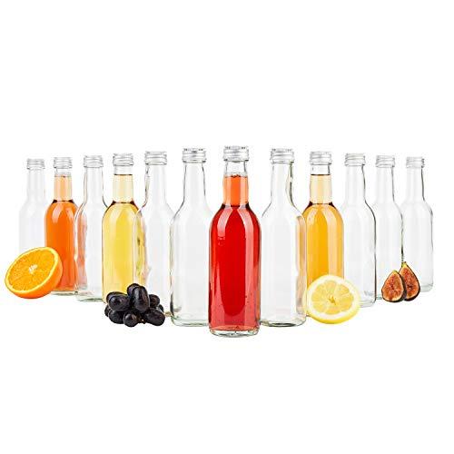 MamboCat 12er Set Bordeaux Flasche klar + Silberne Schraubdeckel I 250 ml I Leere Glasflasche zum Abfüllen von Wein, Likör & Spirituosen I kleine Trinkflasche rund