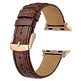 LINMAN Correa de Cuero para Relojes 38mm 40 mm 42mm 44mm, iWatch Series 5 4 3 2 1 Pulsera Cinturón de Pulsera Hombres Bandas de reemplazo (Band Color : Brown Rose Gold, tamaño : 20mm For38mm or 40mm)