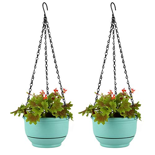 T4U 17cm Plastik Selbstbewässerung Blumenampeln Türkis Blau 2er-Set, Hängepflanztöpfe mit Wasserspeicher für Innen- und Außenbereich