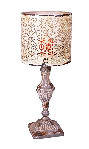 YK Decor Metal Vintage Look Candle Holder Candle Lamp (Beige)