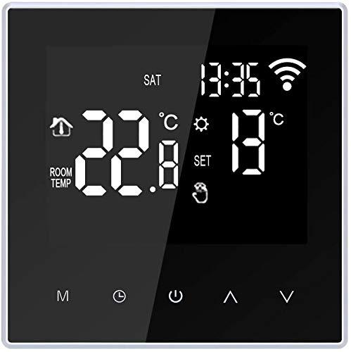 Termostato Intelligente WiFi Riscaldamento a Pavimento Elettrico Regolatore Digitale della Temperatura Touch Screen Schermo LCD con APP Programmabile 16 A Nero