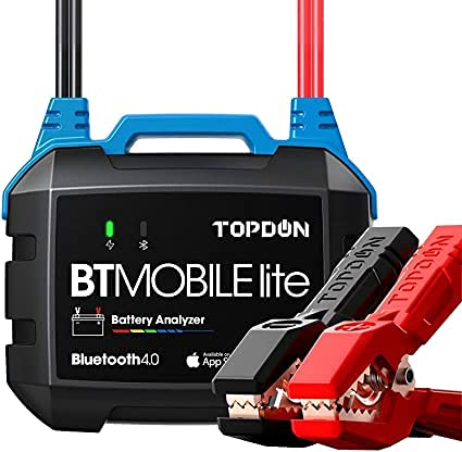 TOPDON Autobatterietester 6V 12V Bluetooth Batterieladetester, BT Mobile Lite 100-2000CCA Drahtloser Kfz-Generator-Tester Batterieanalysator Ladekurbel-Tester für PKW-Motorrad-ATV