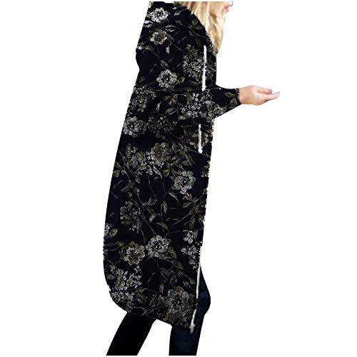 Darringls Leicht Parka Übergangsjacke Damen Lang Mode Jacke Reißverschluss Stoffjacke Outdoorjacke mit Kordelzug Kapuzenjacken Sweatshirt Teenager mädchen