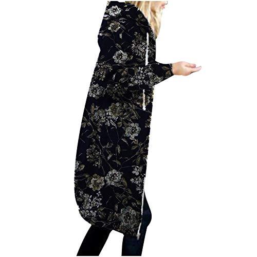 Janly Clearance Sale Abrigo para mujer, sudadera con capucha y estampado floral con cremallera de mezcla de algodón, abrigo largo para mujer, estilo vintage, para invierno, otoño (azul marino-XXL)