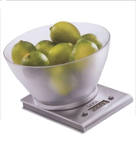 Laica LC7113 Bilancia da Cucina Elettronica, Finitura Alluminio, Ciotola Vitrex, 3 kg, silver