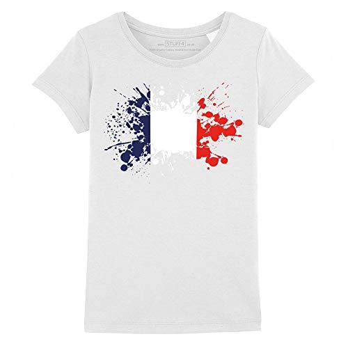 Stuff4 Filles/12-14 Ans (152-164cm)/Blanc/Col Rond T-Shirt/France/Français Drapeau