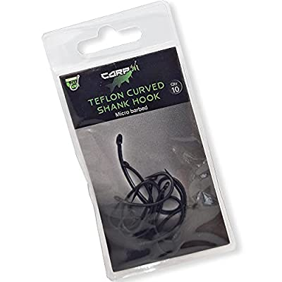 Carp On - Pack of 10 Eyed Fishing Hooks Made From Teflon Coated Carbon Steel - CURVED SHANK Micro Barbed Classic Design – (10 x Size 10) [14-7110]